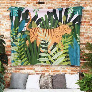 Boho Jungle Tiger Plant Wall Tapestry NWT